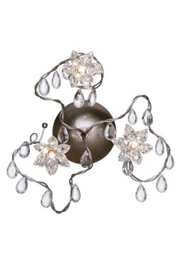 Jewel triple clear cut-glass wall or ceiling light. Harco Loor.