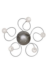 Snowball 5-light wall or ceiling light with white opal-glass balls. Harco Loor.