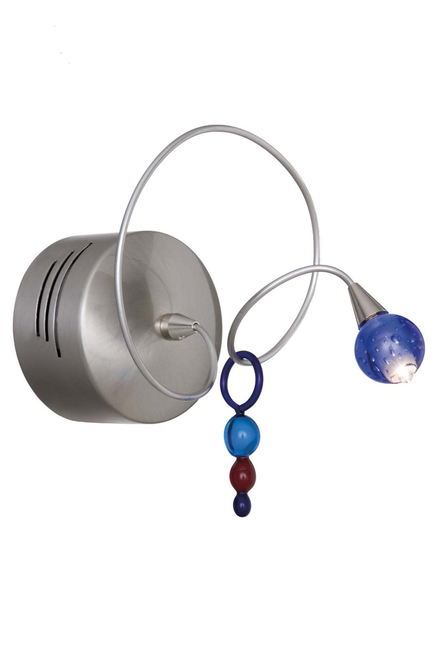Strawberry single wall light in metal wire with coloured drop. Harco Loor.
