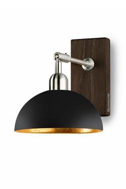 Applique coupole ronde en métal laqué noir mat et intérieur doré. Hind Rabii.