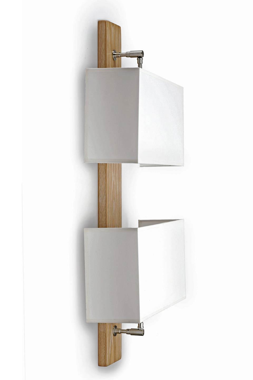 Applique double verticale en chêne et tissu. Hind Rabii.