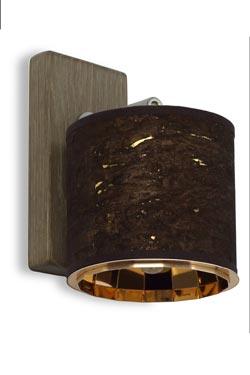 Applique en tissu dévoré marron et or, intérieur cuivre. Hind Rabii.
