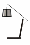 Wenge wood desk lamp with silver lamé shade. Hind Rabii.