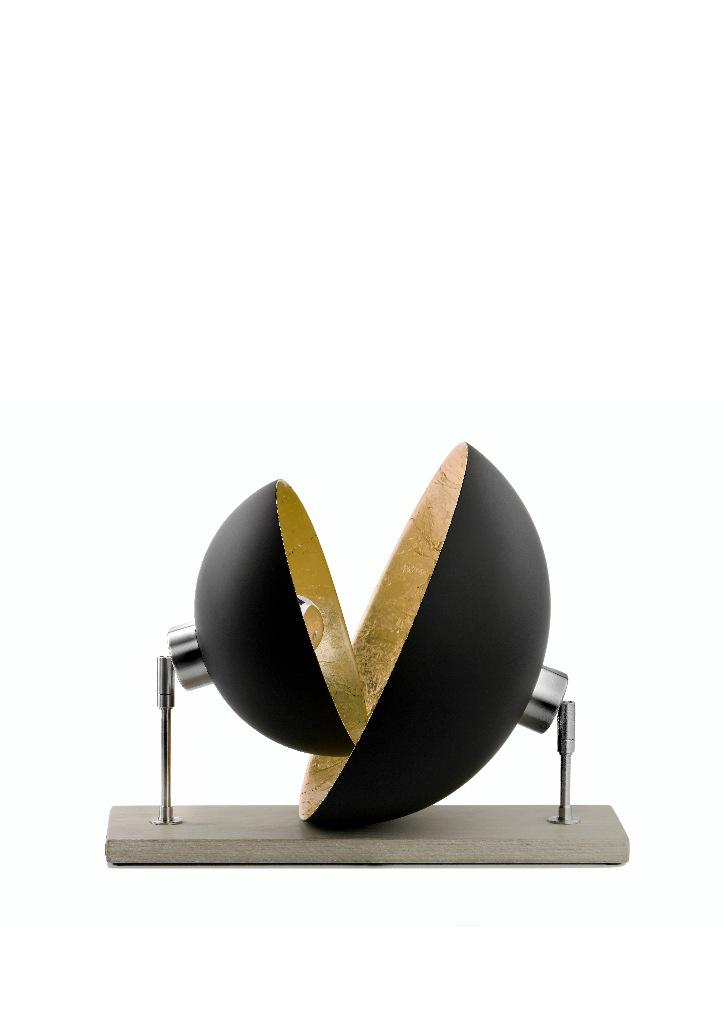 Domus lampe de table double dôme noir intérieur doré. Hind Rabii.