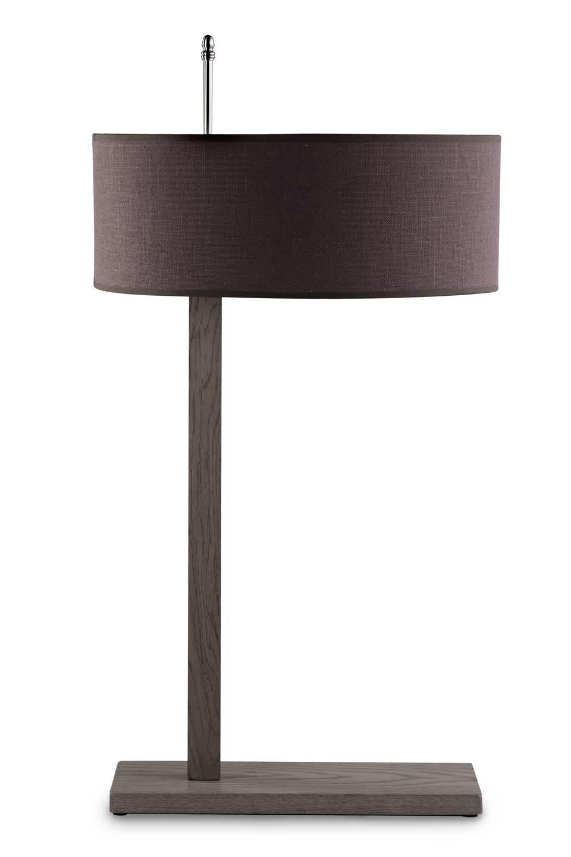 Lampe de table ou de bureau ch ne et tissu abat jour rond for Lampe de bureau sur pied