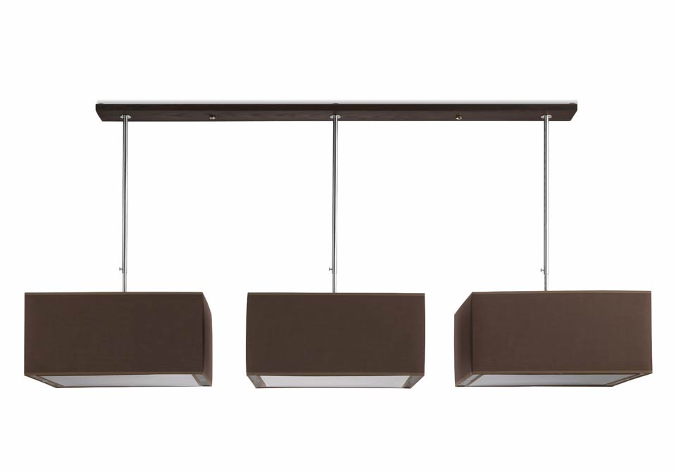 Grande suspension triple abat jour carr s ch ne et tissu for Luminaire triple suspension