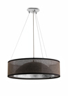 Black and silver dome pendant light, black shade. Hind Rabii.