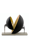 Domus black double dome table lamp with golden interior. Hind Rabii.