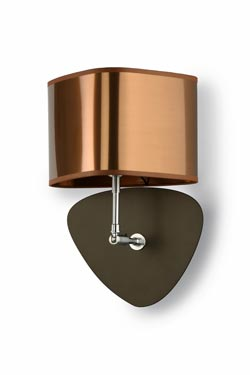 Wall lamp in copper lamé fabric, matching interior. Hind Rabii.