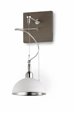 White lacquered metal dome wall lamp. Hind Rabii.