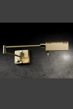 Applique de chevet LED, en métal doré mat et brillant. Holtkötter.