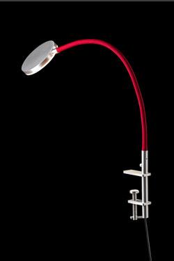Flex lampe de bureau sur étrier tissu rouge. Holtkötter.