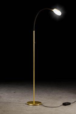 Flex liseuse en métal doré et bras flexible en tissu noir. Holtkötter.