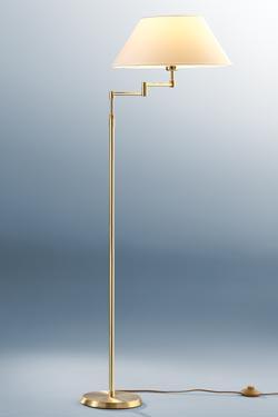 Lampadaire ajustable en hauteur métal doré et abat-jour blanc. Holtkötter.