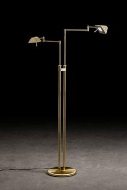 Lampadaire Twin 2 éclairages LED doré mat et brillant. Holtkötter.