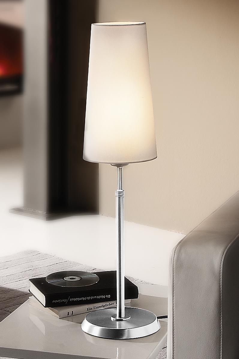 Lampe abat-jour conique pied cylindre métal nickelé mat. Holtkötter.