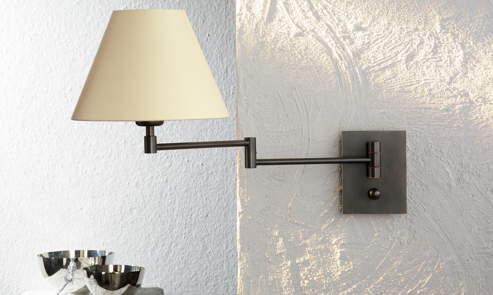 applique de chevet m tal nickel satin mat abat jour blanc holtk tter luminaire allemand. Black Bedroom Furniture Sets. Home Design Ideas