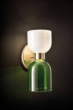 Applique en verre vert et blanc opale Caterina. Italamp.