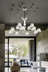 12-light chandelier in fluted crystal and suspension set. Italamp.