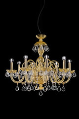 Amber crystal chandelier 8 lights Evergreen. Italamp.