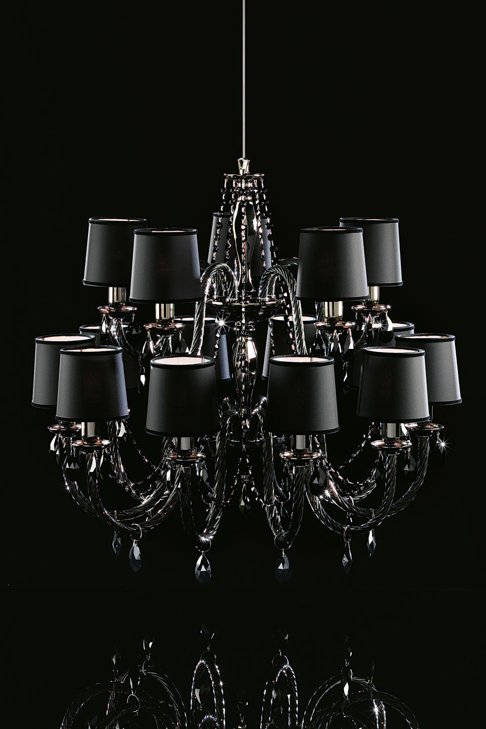Black Chandelier 15 Lights In Gl And