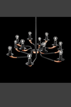 Copper and black metal chandelier, 12 lights Olimpo. Italamp.