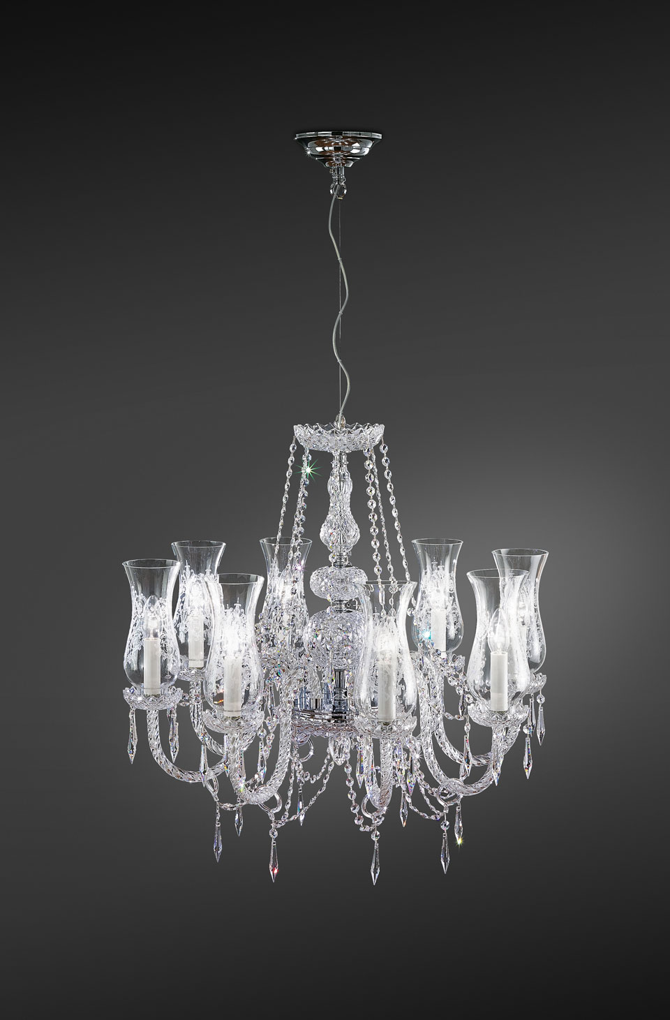 Crystal Transparent Chandelier And Swarovski Drops Italamp Lustre Classic And Contemporary Chandelier Ref 18050013