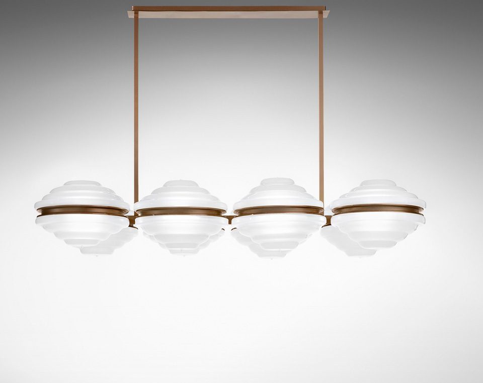 Ellepi bronze chandelier and round diffusers in satin glass. Italamp.