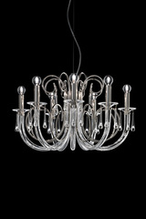Flora contemporary chandelier in transparent glass 8 lights. Italamp.