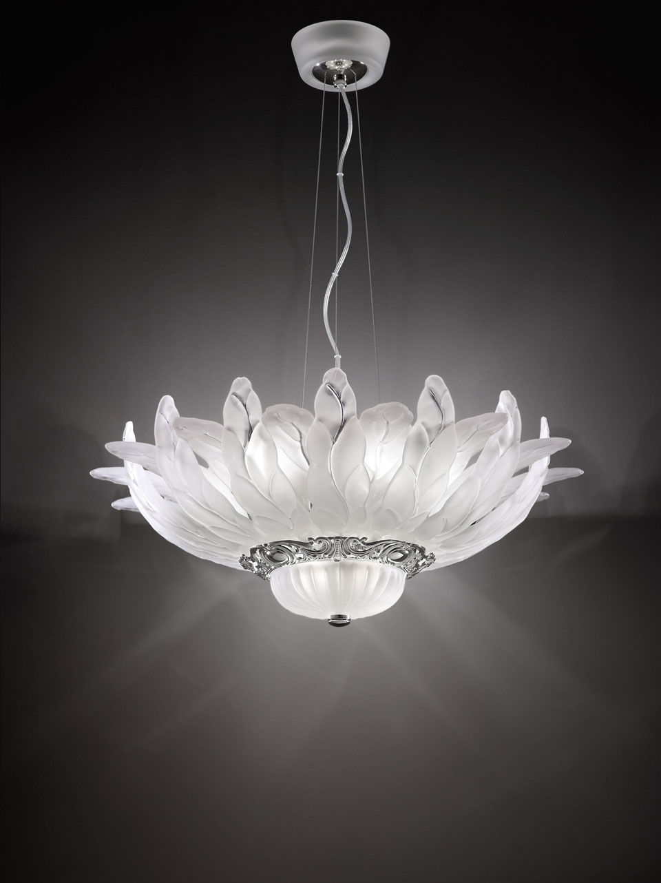 Chandelier in satin white glass leaves and polished nickel crown. Italamp.