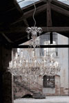 Large transparent crystal chandelier and Swarovski drops. Italamp.
