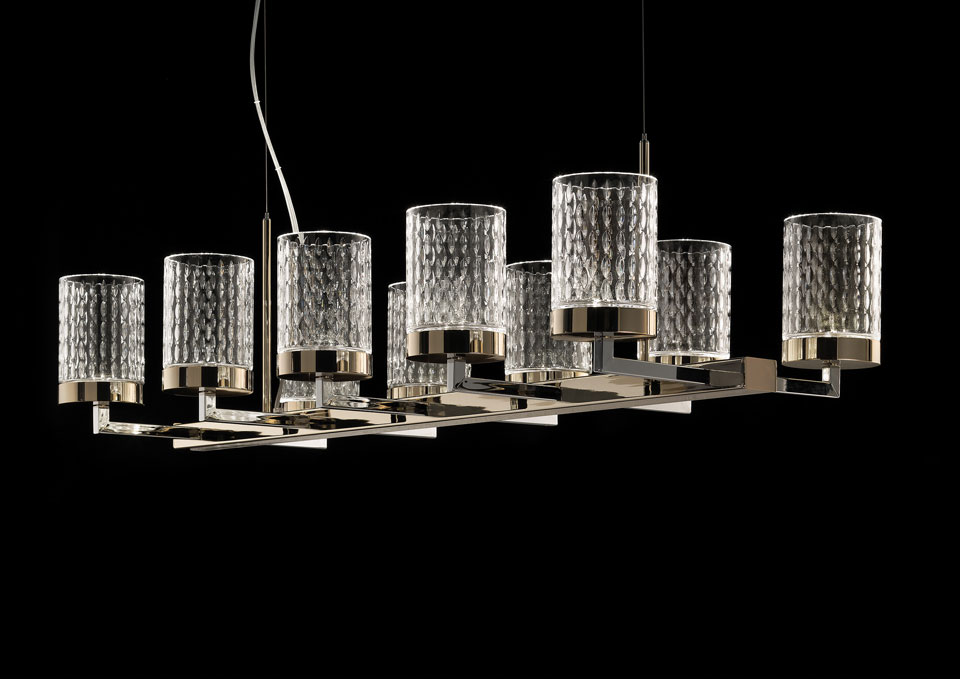 Chandelier In Chromed And Gilded Metal Cylindrical Carved Crystal Diffusers
