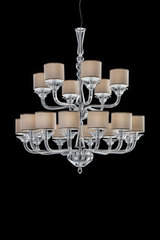 2-tiers clear crystal chandelier, beige cylindrical shades. Italamp.