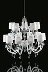 White chandelier 15 lights in glass and Swarovski crystal LENOIR. Italamp.