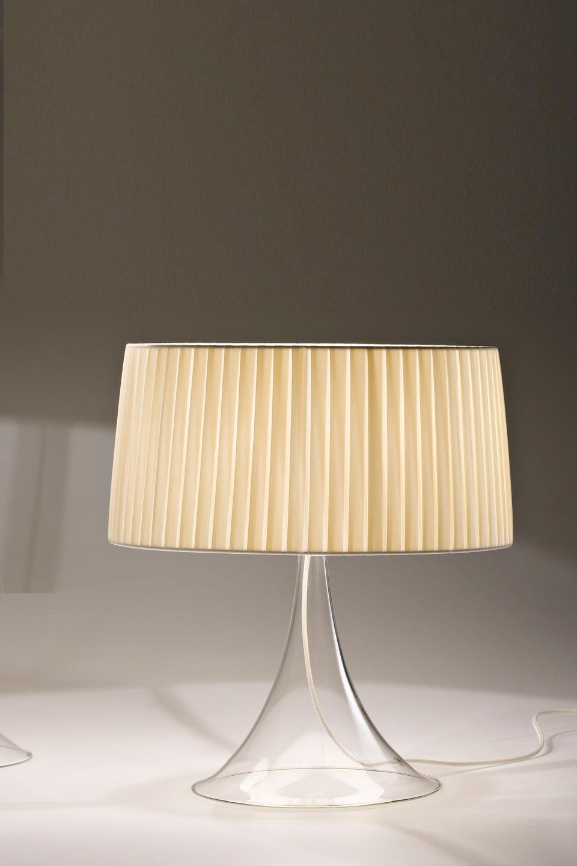 Cigno Lampe De Table En Verre Et Abat Jour Beige Plisse 45cm