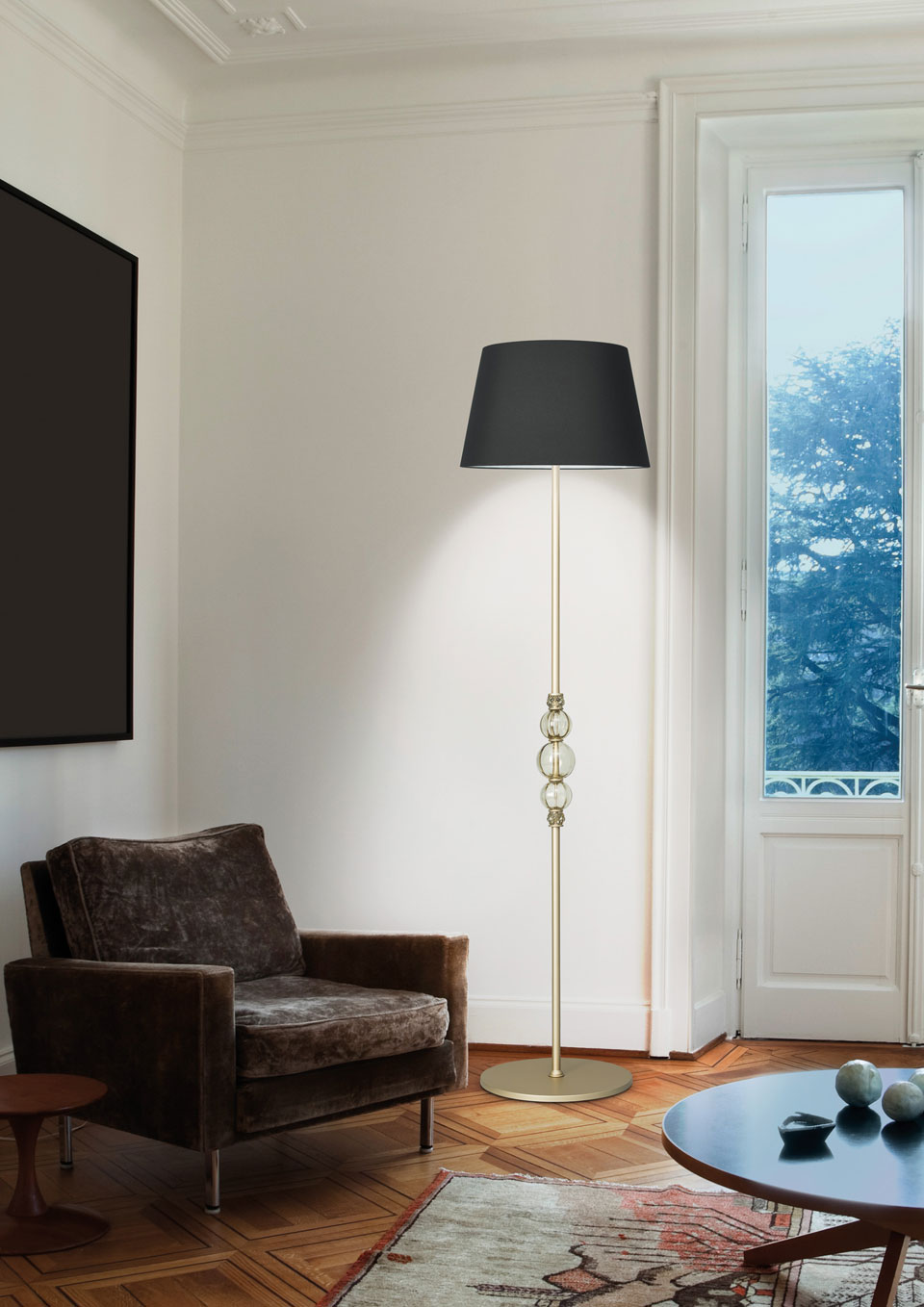 Golden And Black Floor Lamp Decorated With Crystal Balls Alfredo Italamp Lampadaire Classic And Contemporary Chandelier Ref 18050049