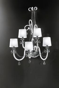 Grande applique 5 lumières en verre blanc et abat-jour ivoire LENOIR. Italamp.