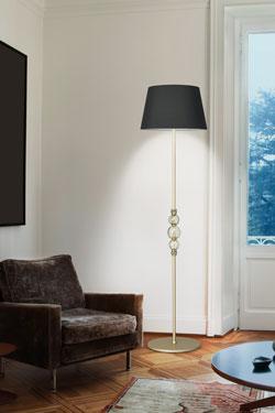 Lampadaire doré et noir, décor de boules en cristal Alfredo. Italamp.
