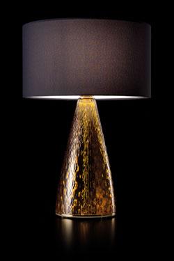 Lampe de table en verre ambré sculpté. Italamp.