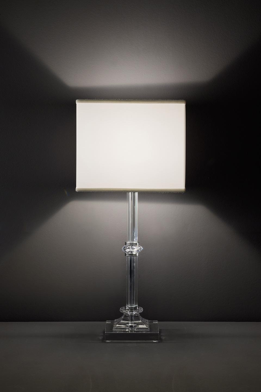 Lampe de table transparente et détail en cristal Swarovski. Italamp.
