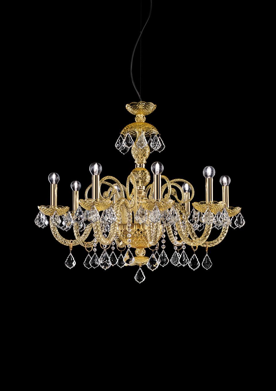 Lustre classique en cristal ambré 8 lumières Evergreen. Italamp.