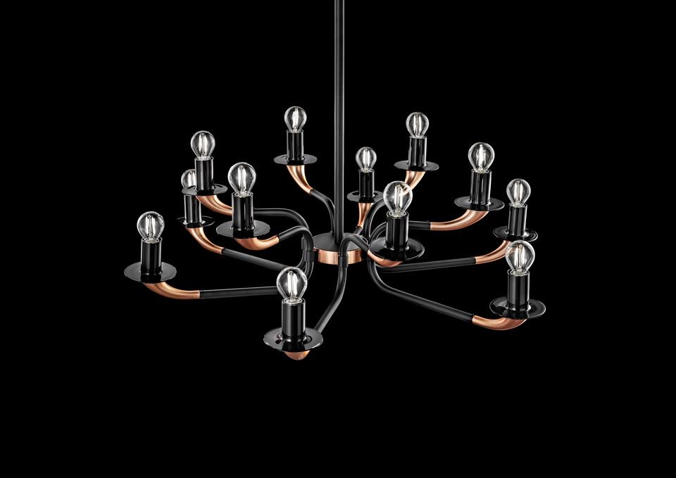 Lustre cuivre et noir en métal, 12 lumières Olimpo. Italamp.