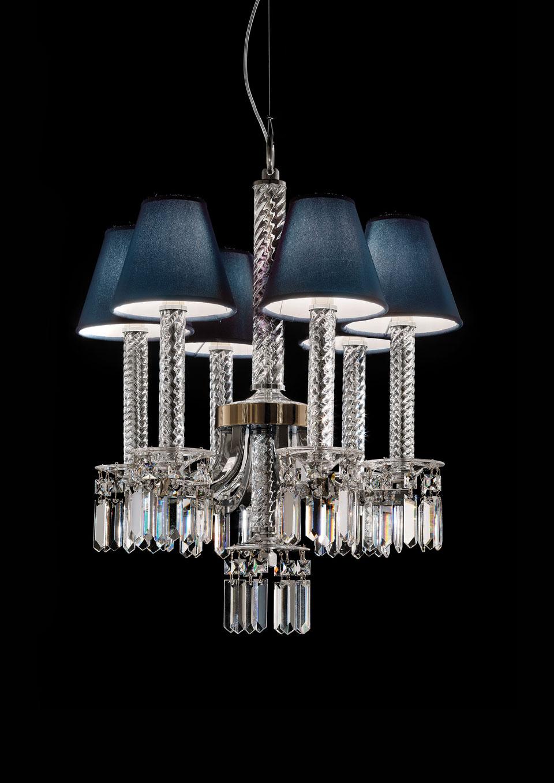 Lustre 6 lumières en cristal et pampilles en cristal Swarovski. Italamp.