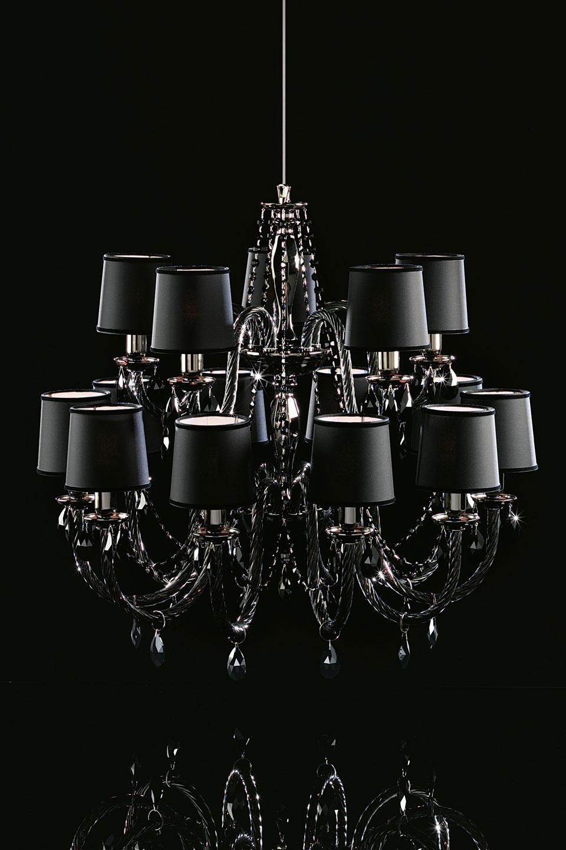 Lustre Noir 15 Lumières En Verre Et Cristal Swarovski Italamp