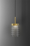 Quarzo contemporary pendant lamp with crystal diffuser. Italamp.