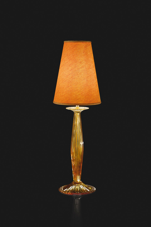 Phebo Ambre Lampe De Table En Cristal Et Abat Jour Orange Italamp