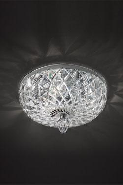Plafonnier transparent en cristal sculpté. Italamp.