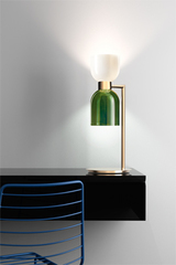 Caterina green and white two-tone hourglass table lamp. Italamp.