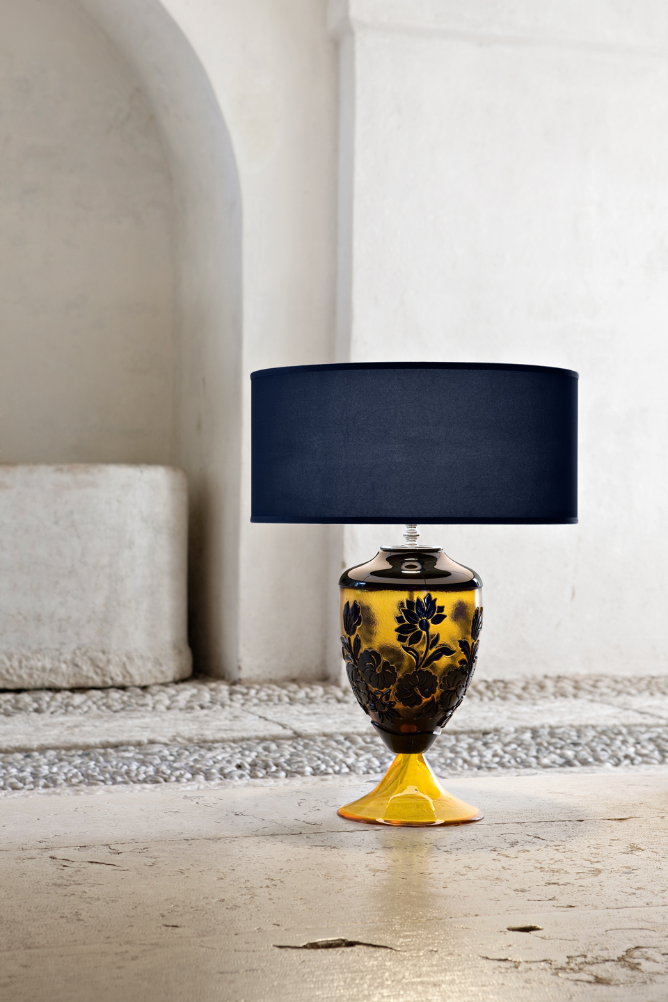 Classic amber and blue table lamp. Italamp.