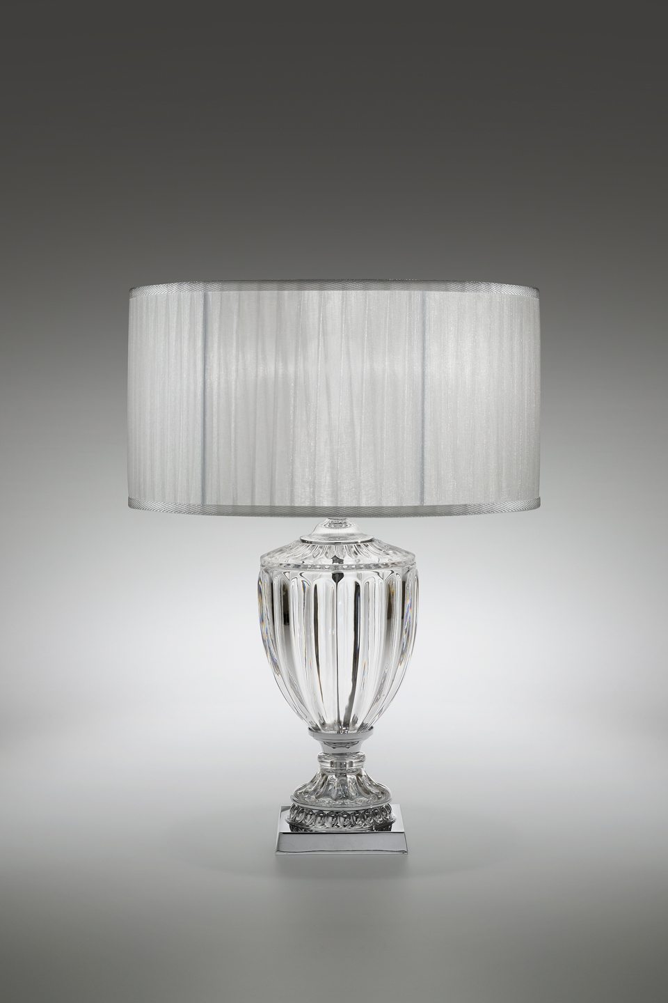 Large Carved Crystal Table Lamp And Pleated Shade 58cm Italamp Lampe De Table Classic And Contemporary Chandelier Ref 19050130